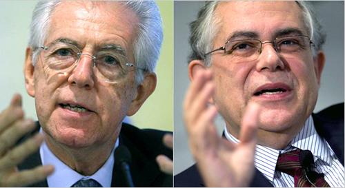 Mario Monti y Lucas Papademos
