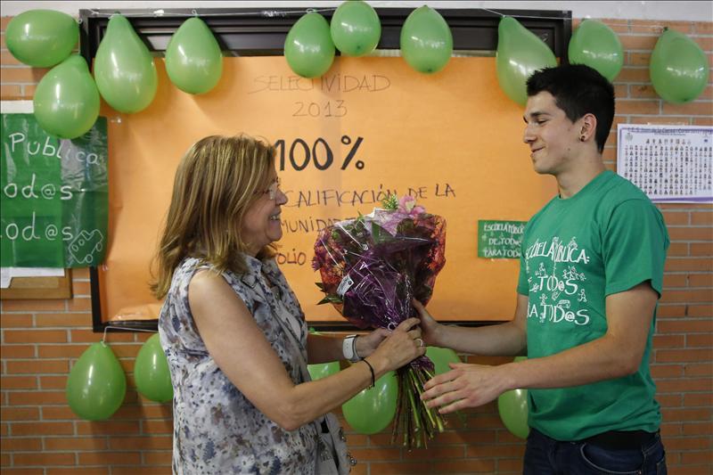 """Anatolio Alonso, del instituto Juan de la Cierva de Madrid: un """"camiseta verde"""", la nota más alta de la CAM. (EFE)"""