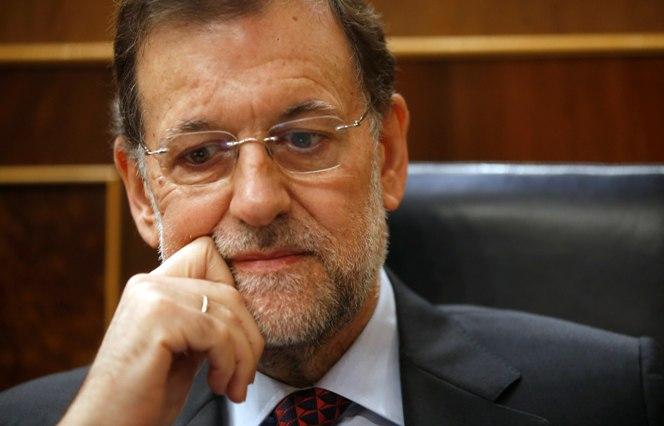 El presidente Mariano Rajoy en su escaño