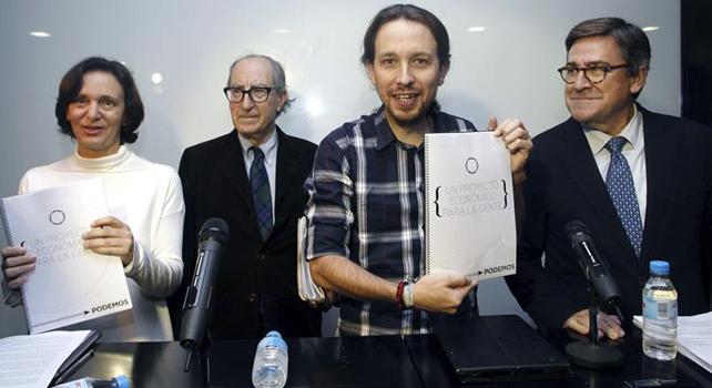 Carolina Bescansa, Vicenç Navarro, Pablo Iglesias y Juan Torres en la presentación del documento marco sobre el programa económico de Podemos.- EFE
